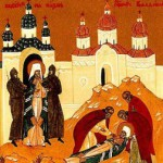 Клеймо иконы - красноармейцы выводят священномученика Владимира на расстрел
